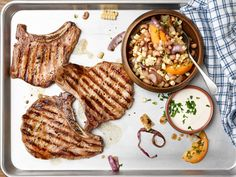 25-Minute Grilled Pork Chops with Succotash Recipe : Food Network Kitchen : Food Network - FoodNetwork.com