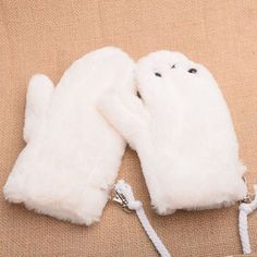 Girls Cute Winter Soft White Plush Gloves Cartoon Seal Pattern Mitten with String
