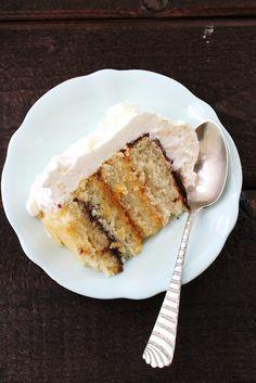 Cloud Cake: Vanilla Bean Cake with Apricot Jam, Chocolate Ganache, and Mascarpone Whipped Cream (GF)