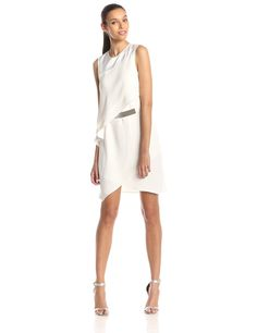 Sleeveless Asymmetrical Tiered Cocktail Dress by Halston Heritage