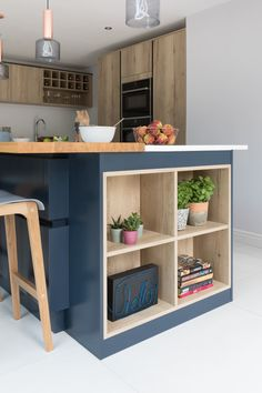 Create the perfect modern scandi kitchen by mixing blue and textured wood finishes. Open shelving in a kitchen island is a great design statement. Pictured Hampton Oxford Blue with Madoc Mayfield Oak. Home Decor Kitchen, New Kitchen, Kitchen Interior, Home Kitchens, Modern Kitchen Island, Kitchen Island Storage, Farmhouse Kitchen Island, Kitchen Peninsula, Kitchen Islands