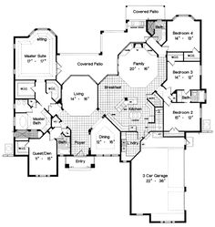 Plan: HHF-5055  I like the 1/2 bath off of the back porch; use the guest den as an office & remove the bathroom; push foyer & dining to the left & extend laundry; remove the 4th bedroom