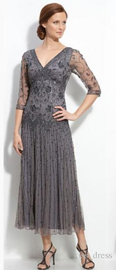 2015 New Short Gray Mother of the Bride Dresses Half Sleeve V-Neck Tulle Beaded Sequined Crystal Tea Length A-Line Hot Sales Custom New M108
