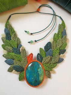 Chrysocolla Turquoise Macrame Necklace by PapachoCreations on Etsy