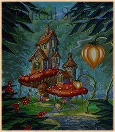 Randal Spangler Tree House Drawing, Randal, Mushroom Art, Dragon Art, Street Art Graffiti, Fantasy Artwork, Whimsical Art, Painting Inspiration, Art Pictures
