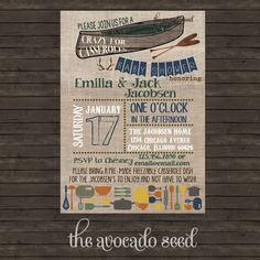 Outdoor Lovers Crazy for Casseroles Baby Shower Invitation | Canoe | Oar | Hunting | Deer | Antler | Bring a Dish Baby Shower