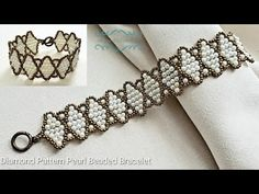 How to make a Diamond Pattern Beaded Pearl Bracelet. Beads Jewelry Making. - How to make a Diamond Pattern Beaded Pearl Bracelet. Beads Jewelry Making. Beads Jewelry, Paper Bead Jewelry, Beaded Jewelry Designs, Handmade Beaded Jewelry, Handmade Wire, Fabric Jewelry, Dainty Jewelry, Clay Jewelry, Stone Jewelry