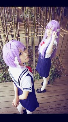 Clannad Kyou and Ryou cosplay in summer school uniform
