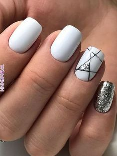 Nails beautiful nail design glitter winter nails white nails Wedding Cake Toppers: Important Things White Nail Designs, Short Nail Designs, Beautiful Nail Designs, Cool Nail Designs, Acrylic Nail Designs, Acrylic Art, White Nails With Design, Stripe Nail Designs, Nail Designs For Summer