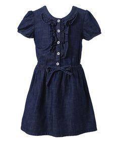 Richie House Blue Denim Ruffle Button-Front Dress - Toddler & Girls by Richie House #zulily #zulilyfinds
