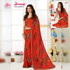 Get this Eye-Catching Orange Color Georgette Saree and Brown Color Georgette Blouse along with Rawsilk Lace Border Only at Laxmiapti Saree. Limited Stock. Hurry! #Catalogue #Zeeba #Design_Number: 4423 #Price - Rs. 1575.00 Visit for more #designs @ www.laxmipati.com/catalogue/zebaa #Bridal #ReadyToWear #Wedding #Apparel #Art #Autumn #Black #Border #MakeInIndia #CasualSarees #Clothing #ColoursOfIndia #Couture #Designer #Designersarees #Dress #Dubaifashion #Ecommerce #EpicLove #Ethnic #Ethnic Laxmipati Sarees, Lehenga Saree, Georgette Sarees, Fancy Sarees, Party Wear Sarees, Dubai Fashion, Lace Border, Saree Collection, Casual Wear