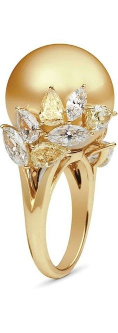 Mikimoto - Yellow Gold with Golden South Sea Pearl & White/Yellow Diamonds Ring