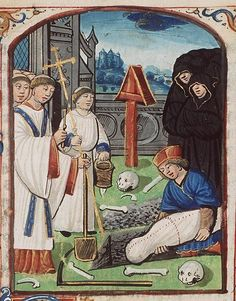 The Hague, MMW, 10 F 17 fol. 73r. Office of the Dead. Burial service on a grave-yard