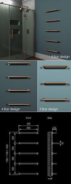Floating Copper Towel Bar Radiator (58XCO)