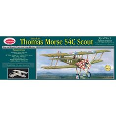 Guillow's Thomas Morse Scout #201 Balsa Wood Scale Model Flying Airplane