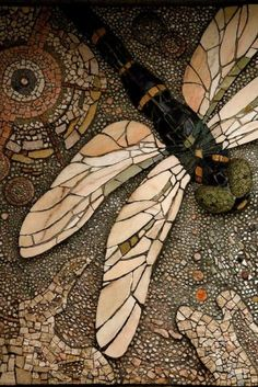 Garden art - Mosaic Dragonfly by julia.budna