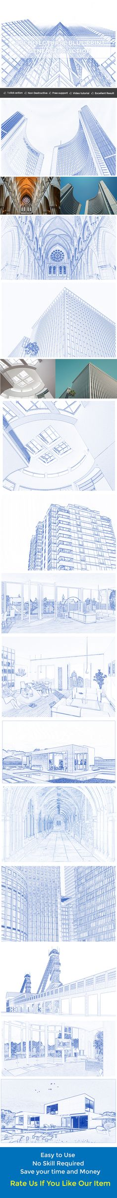 Architectural Blue Print Generator Action — Photoshop ATN #graphic #industry • Available here → https://graphicriver.net/item/architectural-blue-print-generator-action/18627403?ref=pxcr