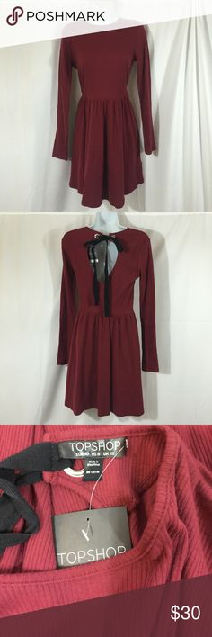 TOPSHOP SZ 8 Ribbed Dress with Open Back TOPSHOP SZ 8 Ribbed Dress with Open Back * Brand New with Tags * Topshop Dresses Long Sleeve