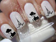 Nail Art Eiffel Tower Smoking Woman Nail Water Decals Transfers Wraps