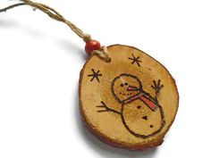 Snowman Ornament  Wooden Snowman Wooden Decoration  Snowman Snowman Decorations, Snowman Ornaments, How To Make Ornaments, Christmas Tree Ornaments, Wooden Christmas Trees, Wooden Decor, Wood Slices, Your Pet, Hand Carved