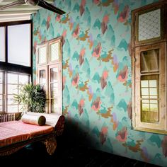 Boy Kim expresses the beautiful yet fleeting moment of youth in a modest and quiet way. An evocative hand-painted designer wallpaper,. Scandinavian Wallpaper, Scandinavian Design, Kids Wallpaper, Original Wallpaper, Tropical Interior, Elle Decor, Designer Wallpaper, Textile Design, Gallery Wall