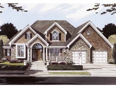 European House Plan with 3385 Square Feet and 4 Bedrooms(s) from Dream Home Source | House Plan Code DHSW55166