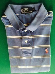 Men's POLO BY RALPH LAUREN Golf Shirt - Blue, Striped, Textured - Size XL…