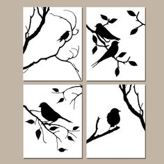 Birds of a Feather Wall Art Quad Set of Four 8x10 by Tessyla