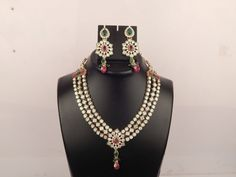 Indian Bridal Necklace Set with Wedding Crystal Earring with Beautiful Stone Set #VGjewel