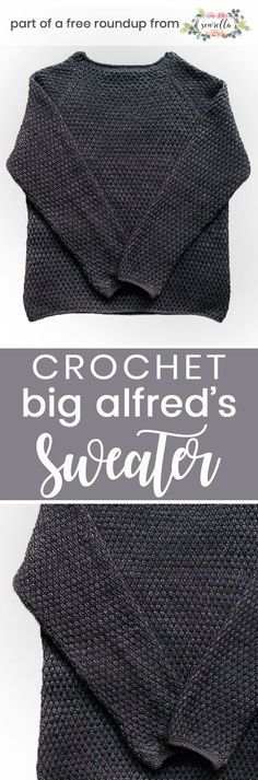 Get the free crochet pattern for this Big Alfred's Pullover Sweater from Britta Wilfert featured in my husband-approved crochet sweaters for men FREE pattern roundup!