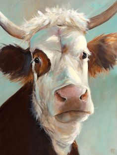 Cow Painting - Beatrice - Paper or Canvas Giclee Print by ArtPaperGarden on Etsy https://www.etsy.com/listing/169346452/cow-painting-beatrice-paper-or-canvas