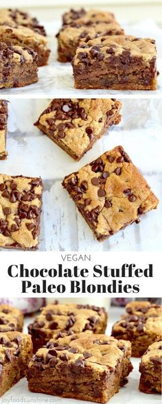 Chocolate Stuffed Paleo Blondies! Vegan & paleo these blondies are the perfect healthy dessert! An easy recipe that's ready in under 30 minutes!