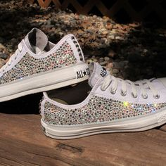 Baby Converse Shoes With Diamonds.Rhinestone And Pearl Kids Converse Teegan Jamicyne. Baby Girls Pink White Boys Black Blinged Out Converse Crib . Blinged Out Converse Lol In 2019 Converse Wedding Shoes . Converse All Star, Baby Converse Shoes, Cute Converse, Converse Fashion, Shoes Sneakers, Cute Shoes, Me Too Shoes, Prom Shoes, Wedding Shoes
