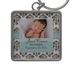 Custom Baby Damask Photo Keychain Blue and Brown (what a great idea for a new mother's Mother's Day gift!) #mothersday