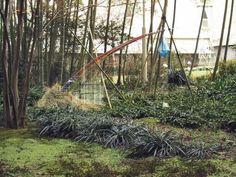 【虹の雫】Drop of water of the rainbow  中庭の竹林に設置  違和感なく溶け込んでいます