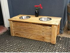 20140316 172235 Pallet doggy dining table in pallet furniture with