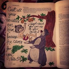 """Les Feldick Bible Study - Daily Online Video Bible Study //1Peter5:7// Cast all your anxieties on Him because He cares for you... Bold statement... I think this is my favourite #biblejournaling one so far... Loved how the #bearnecessities song says """"forget about your worries and your strife."""" God doesn't want us to worry or fear instead we can give the anxieties and burdens over to God knowing that He cares for us. #Disney #journalingbible #bible #heartnotart #bibleartjournaling.."""