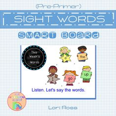 Pre-Primer Sight Words SMART Board Notebook. Interactive White Board provides loads of reinforcement for your RTI, ESL/ELL groups of emergent readers. 28 pages of interaction in all. Word identification, comprehension, rhyming, and writing activities are some examples. Pre Primer Sight Words, Smart Boards, Teacher Assistant, Interactive Whiteboard, Emergent Readers, Word Up, Learning Tools, Your Teacher, Ell