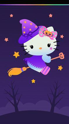 Hello Kitty Iphone Wallpaper, Hello Kitty Backgrounds, Halloween Wallpaper Iphone, Wallpaper Iphone Cute, Cute Wallpapers, Happy Halloween, Hello Kitty Halloween, Hello Kitty Christmas, Halloween Witches