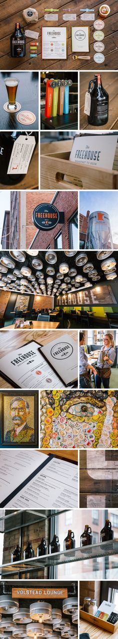 Cool graphic style for The Freehouse // graphic design // identity and branding Brand Identity Design, Graphic Design Typography, Branding Design, Logo Design, Branding Ideas, Corporate Branding, Corporate Design, Restaurant Branding, Restaurant Design