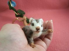 Needle Felted Morning Glory Baby Opossum by emeyer1044, via Flickr