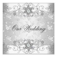 Elegant Wedding Silver White Diamond Jewel Lace Custom Invitations invitations Birthday invitations by zizzago.com