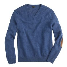 """This sweater is made with """"slub"""" merino wool—it's more plush than your typical merino, so it's warmer but just as lightweight. It's finished with suede elbow patches for a new take on the classic professorial look (a smart choice no matter what you wear it with). <ul><li>Merino wool.</li><li>Hand wash.</li><li>Import.</li><li>Online only.</li></ul>"""