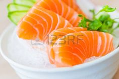 giapponesi: Salmon sashimi - Stile di cibo giapponese Archivio Fotografico