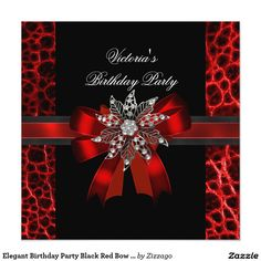 Elegant Birthday Party Black Red Bow Jewel Card