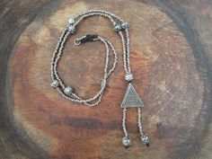 Long Morrocan Beaded Necklace Pendant Dainty by BlueMargarita