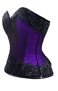 """Steel Boned and hand beaded this corset shimmers and sparkles, plus size runs up to a waist of 44""""  The Violet Vixen - Burlesque Glimmer Purple Beaded Corset, $184.00 (http://thevioletvixen.com/corsets/burlesque-glimmer-purple-beaded-corset/)"""