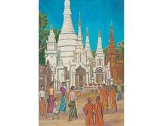 Yangon, Burma; Artist: Liu Kang; Year: 1972; Country: Singapore; Medium: oil on canvas; Dimensions: 127 x 86 cm