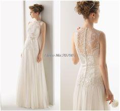 >> Click to Buy << Custom Made A-Line Wedding Dress Lace See Through Bodice Sexy Hight neck Wedding Dress Romantic vestido de noiva Bridal Dresses #Affiliate