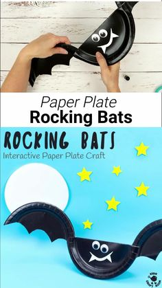 This Rocking Paper Plate Bat Craft is a great way for kids to get creative and play! Tap the bat's wings and see it rock and wobble from side to side as if it was flapping and flying through the night sky! Such a fun interactive Halloween craft. #halloween #halloweencrafts #halloweenactivities #halloweenkids #kidscrafts #bat #bats #batcrafts #paperplates #paperplatecrafts Halloween Arts And Crafts, Halloween Crafts For Toddlers, Crafts For Kids To Make, Halloween Activities, Toddler Crafts, Halloween Kids, Kids Diy, Preschool Crafts, Paper Plate Crafts